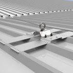 Vista 3D Linea Staffa Clavus applicazione su capannone industriale Roma